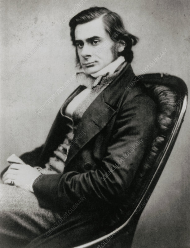 Photograph of biologist Thomas Huxley, in 1857