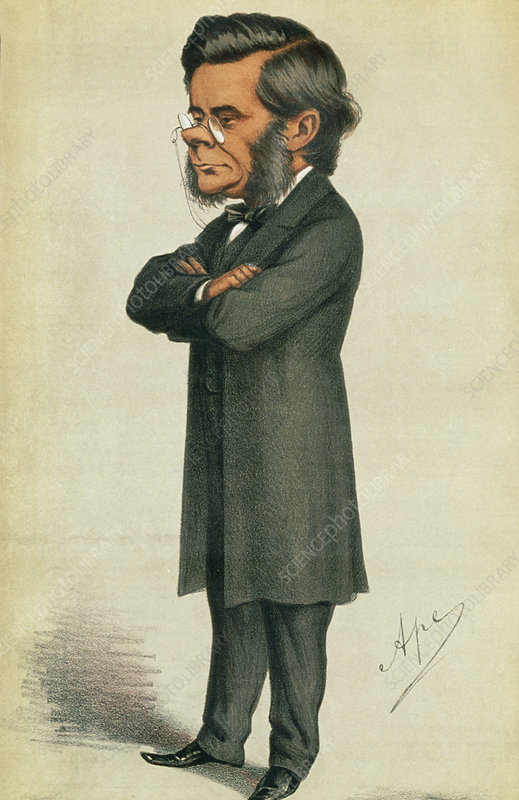 Caricature of Thomas Huxley, British biologist.