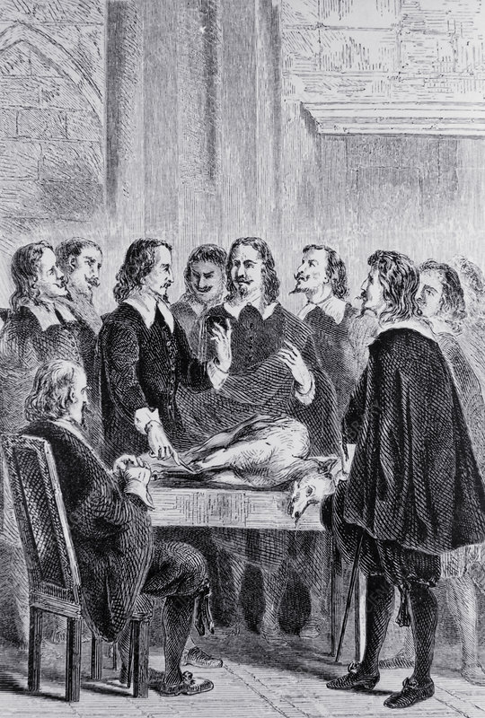 William Harvey lecturing on blood circulation