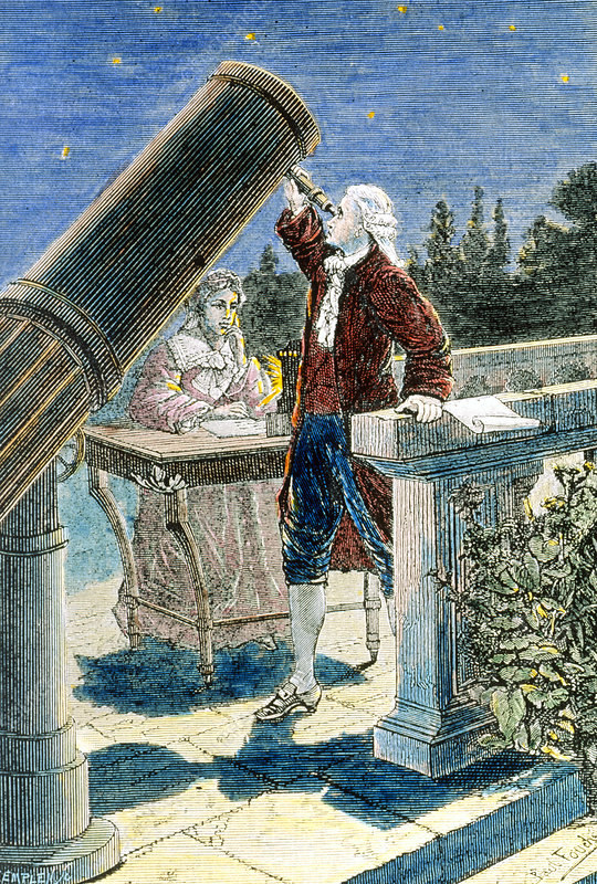 Artwork of William and Caroline Herschel