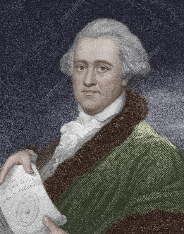 Coloured engraving of William Herschel