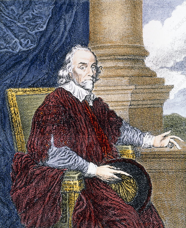 Coloured portrait of the physician William Harvey