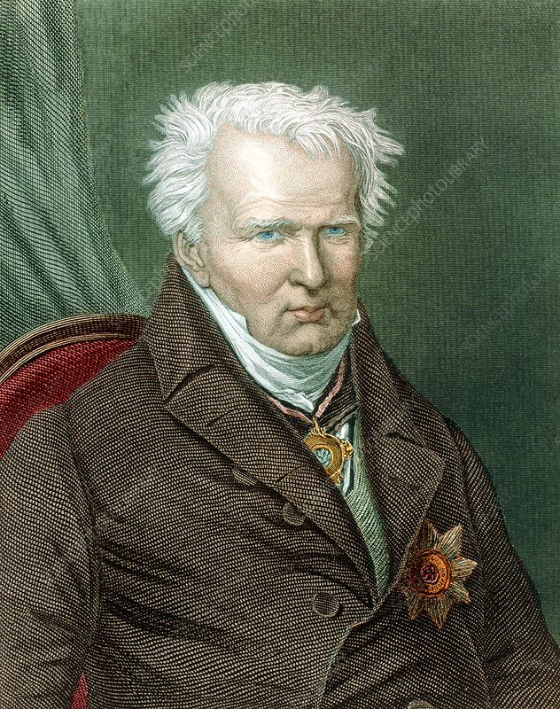 Coloured portrait of Alexander von Humboldt