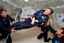 Stephen Hawking in freefall flight