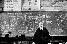Lord Kelvin, British physicist, teaching a class.