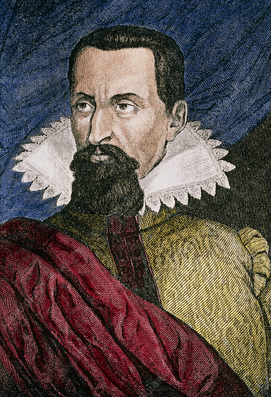 Coloured portrait of Johannes Kepler, astronomer