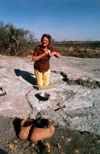 Mary Leakey on site at Laetoli, Tanzania