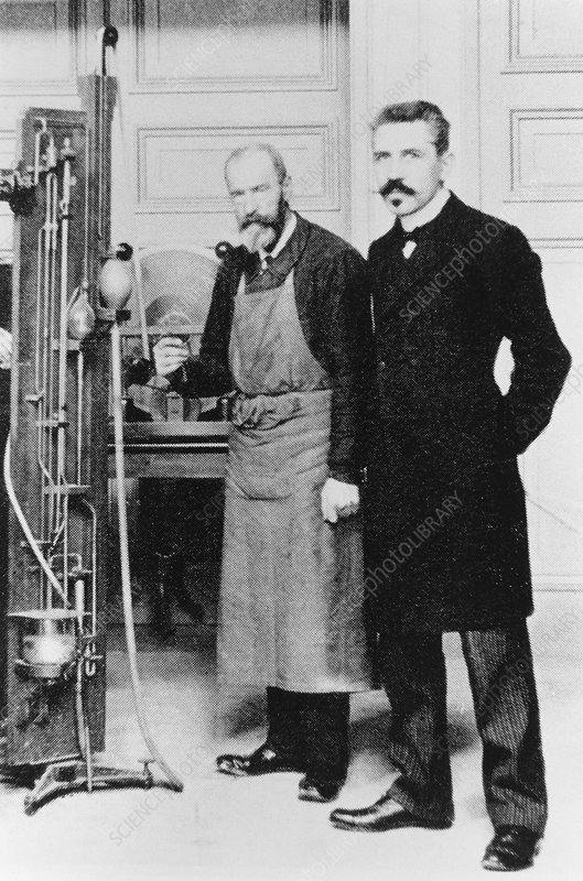 Paul Langevin in his laboratory