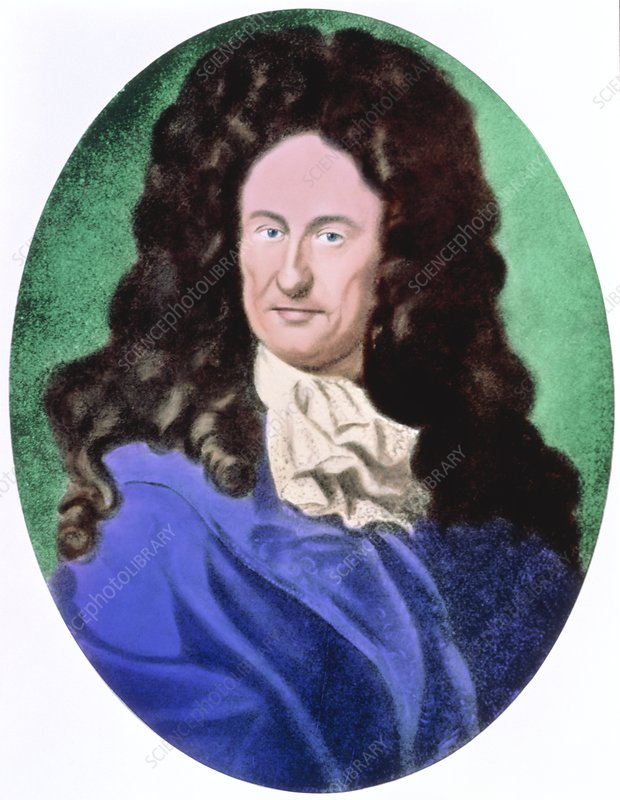 Col portrait of the German mathematician Leibniz