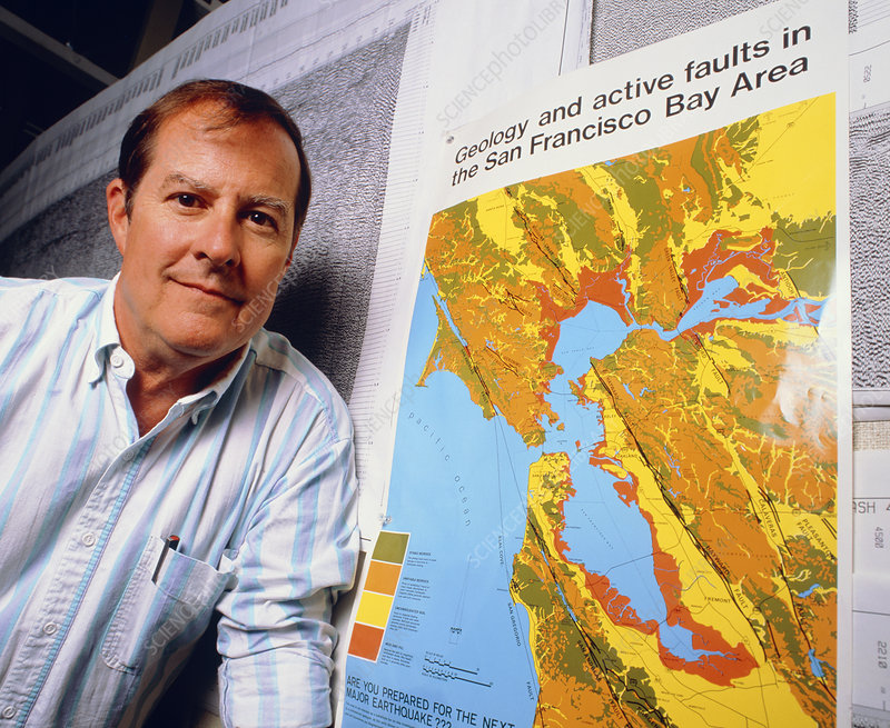 Professor Thomas McEvilly with map of Bay area