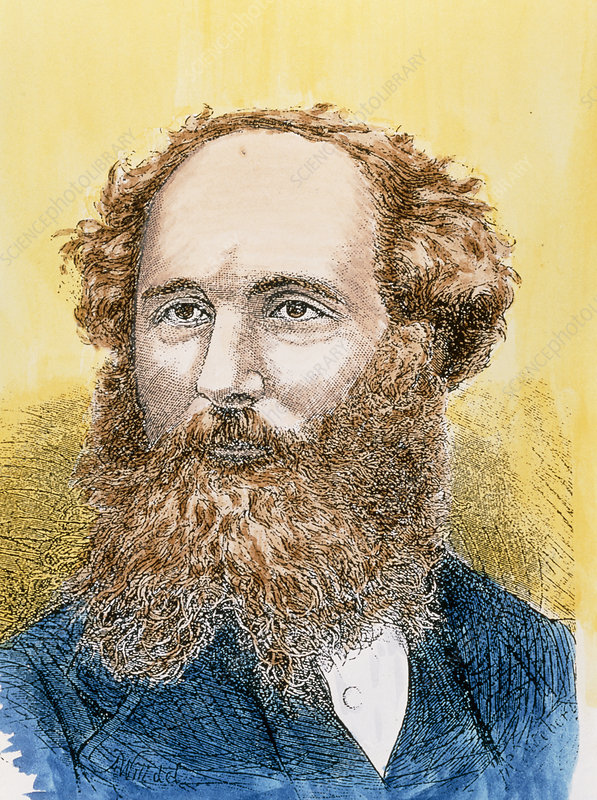 Coloured portrait of physicist James Clerk Maxwell