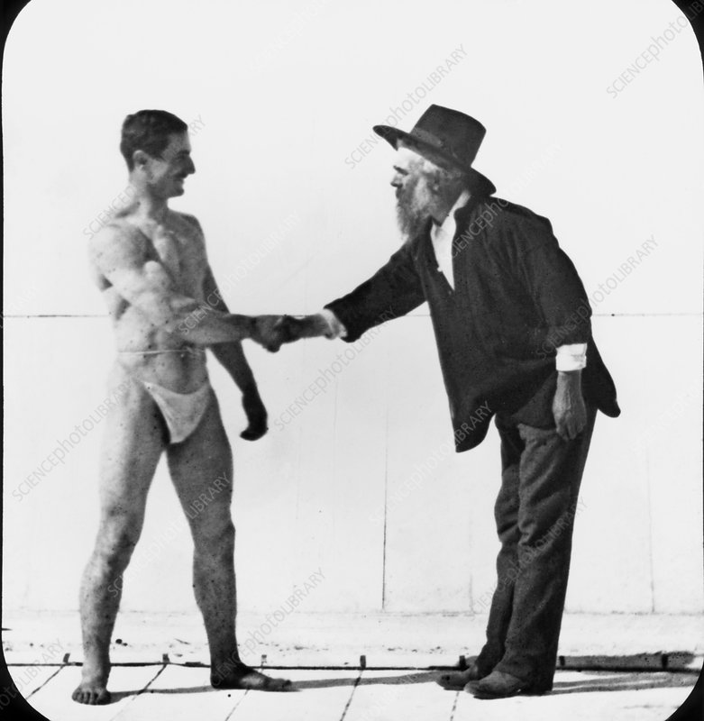 Photographer Eadweard Muybridge with an athlete