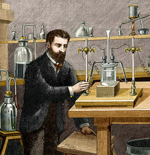 Moissan isolating fluorine, 1886