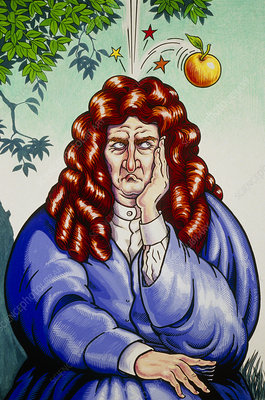 Cartoon of Isaac Newton, celebrating Principia