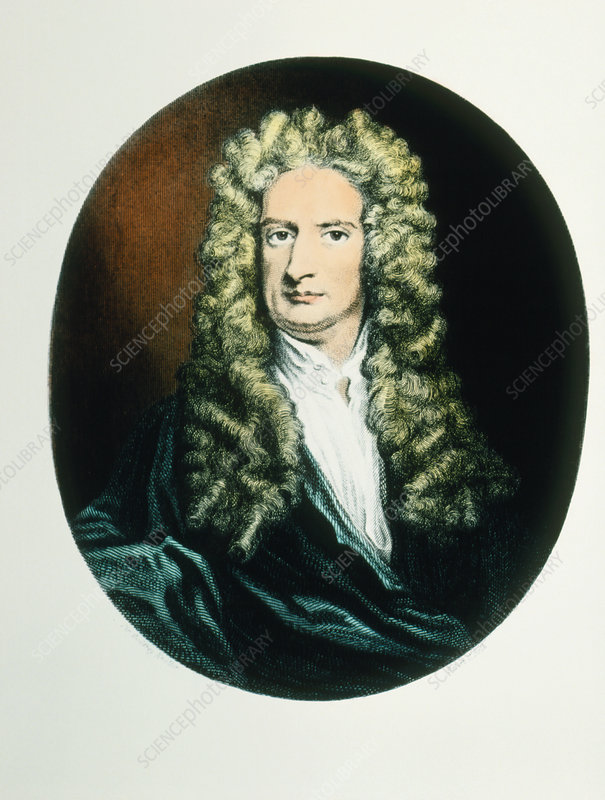 Coloured engraving of isaac newton