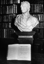 Bust of Isaac Newton with his copy of 'Principia'