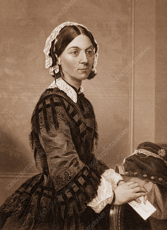 Engraving of the nurse Florence Nightingale