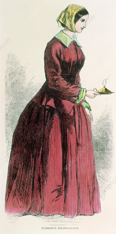 Coloured engraving of Florence Nightingale & lamp