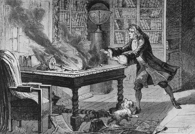 Engraving of Isaac Newton and his notes burning