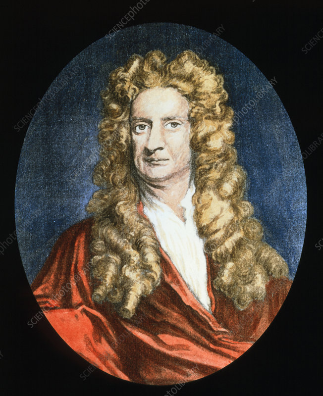 Coloured portrait of the physicist Isaac Newton