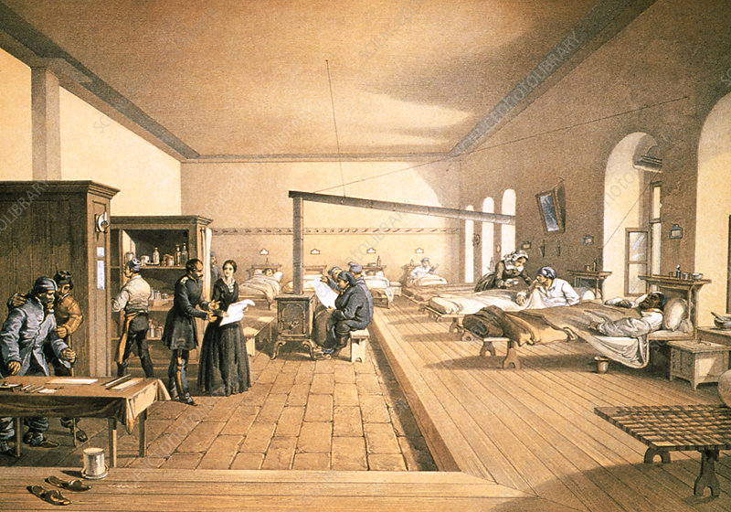Florence Nightingale in a hospital