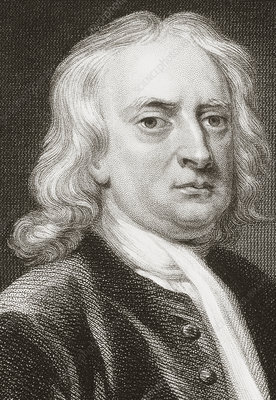 Portrait of the English physicist Isaac Newton