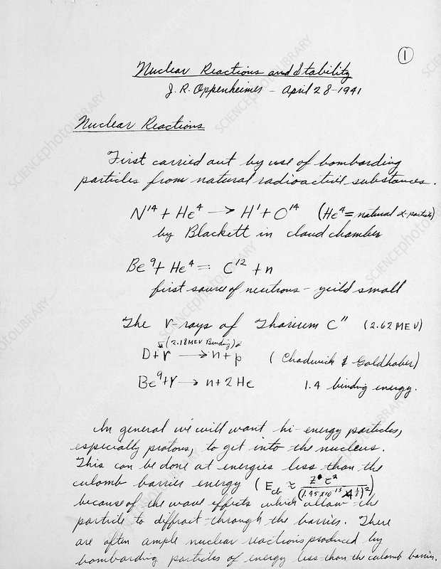J. Robert Oppenheimer's Equations