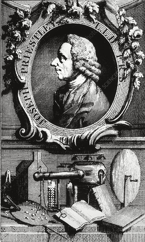 Portrait of Priestley & his equipment
