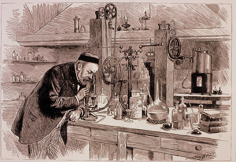 Engraving of Louis Pasteur in his laboratory