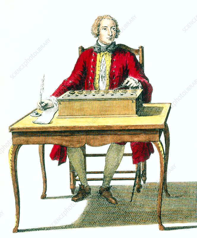 Portrait of Blaise Pascal with his calculator