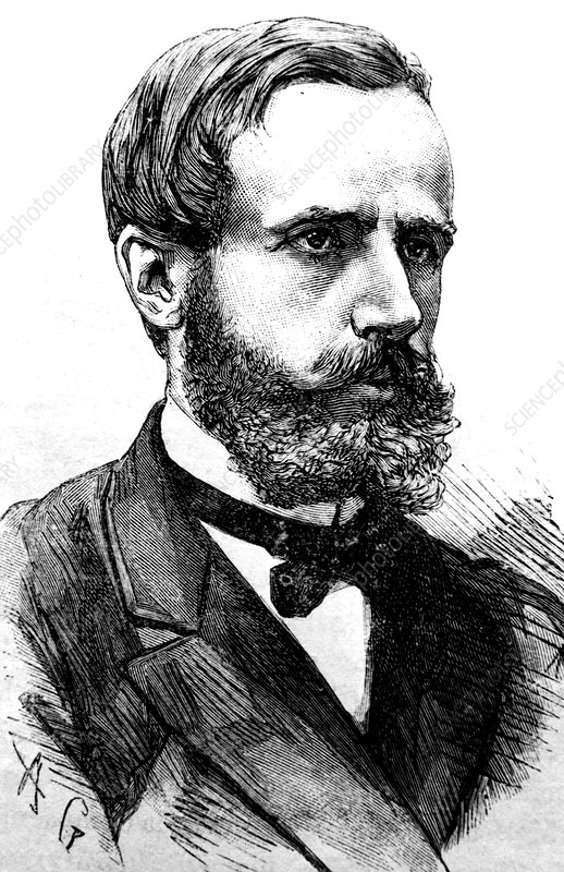 Engraving of Gaston Plante, French physicist
