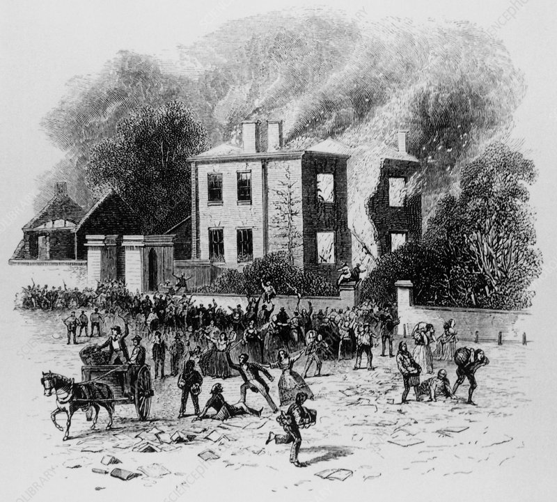 Rioters burn house of Joseph Priestley