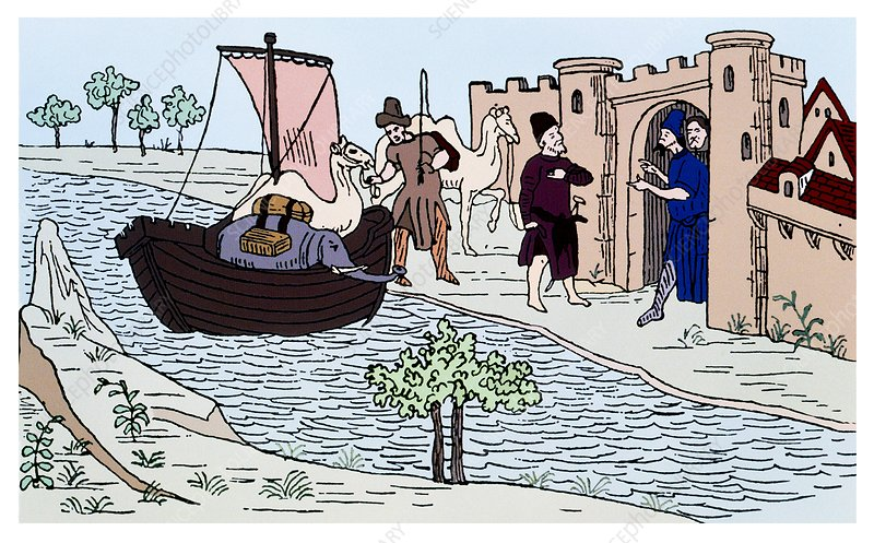 Coloured artwork of Marco Polo landing at Hormuz