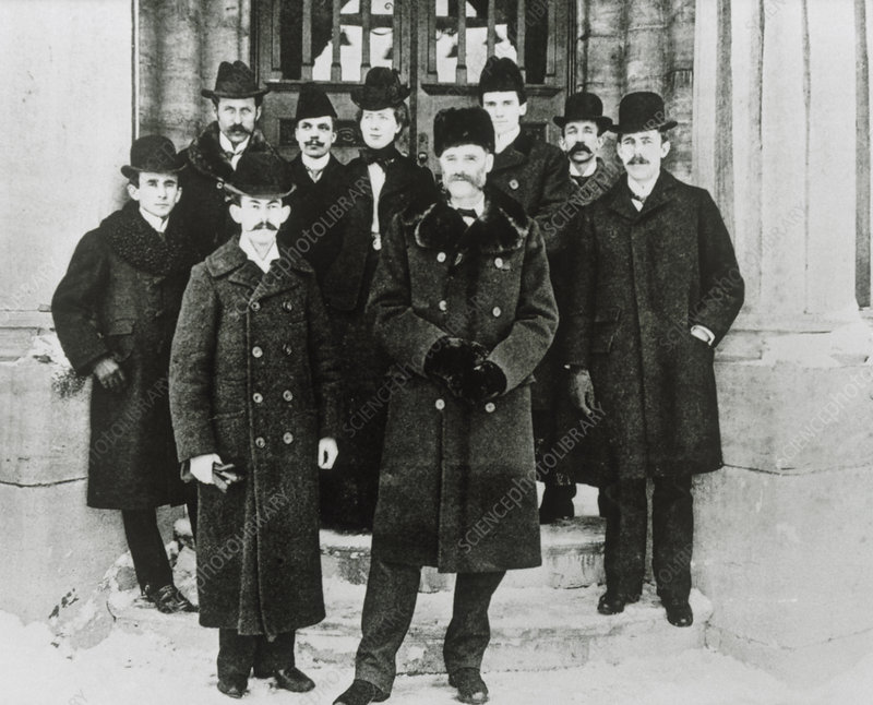 E. Rutherford in a group portrait at McGill Unive.