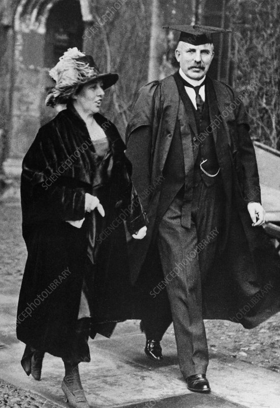 E. Rutherford and his wife at Trinity College