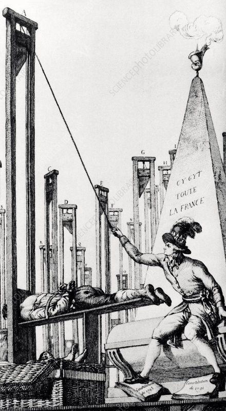 Robespierre operating a guillotine