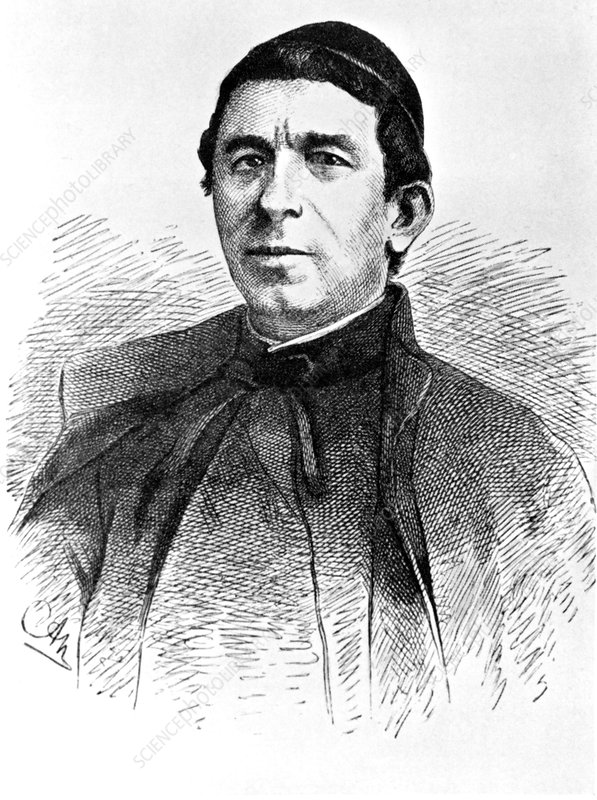 Engraving of Angelo Secchi, Italian astronomer