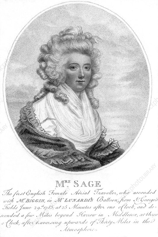 Mrs Sage, first English female aeronaut