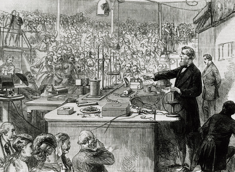 John Tyndall, Irish physicist, giving a lecture