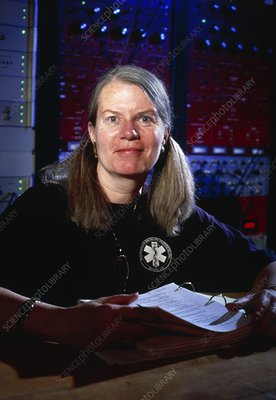 View of Jill Tarter, American astronomer, at work