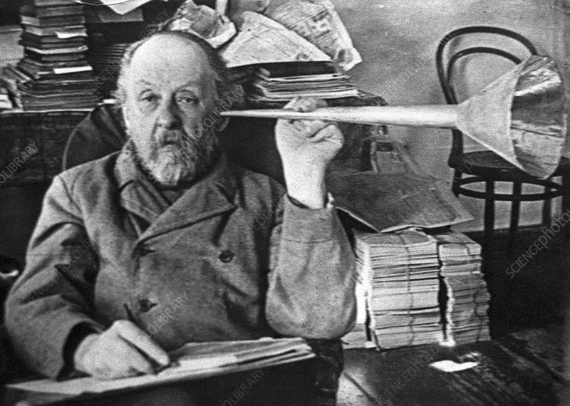 Tsiolkovsky with his ear trumpet