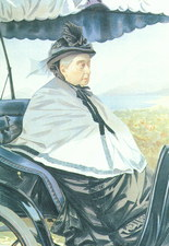 Historical artwork of Queen Victoria in a carriage
