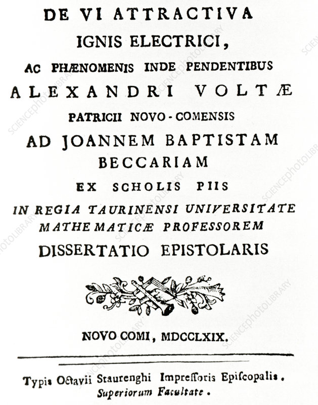 Volta's first paper on electricity (1769)