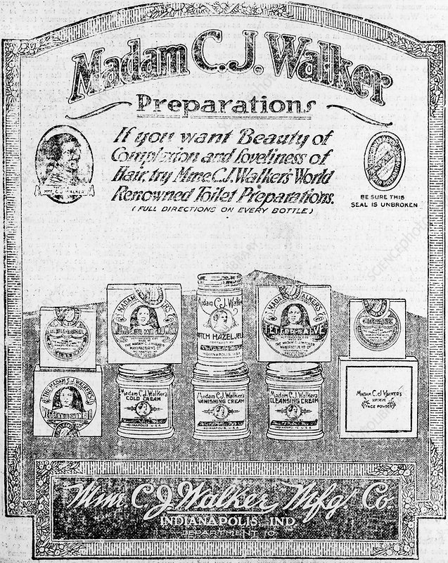 Advert for Madam Walker's products, 1920