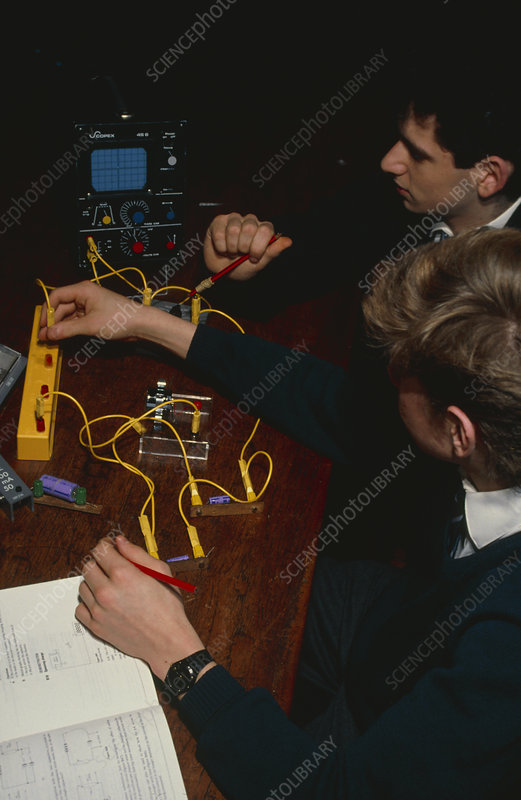 Students conduct a physics experiment