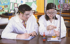 Pupils performing a titration