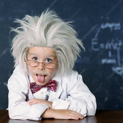 Boy dressed as Einstein