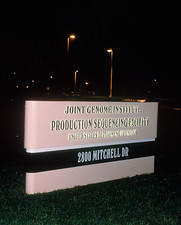 Entrance sign to the Joint Genome Institute, USA