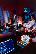 Researcher uses a scanning electron microscope