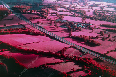 Infrared photo of farmland in Kent, UK